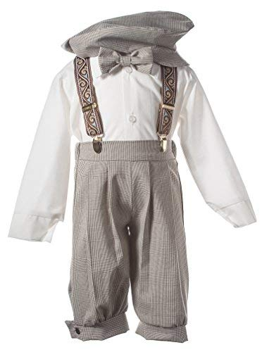 Tuxgear Boys Tan Plaid Knicker with Paisley Suspenders and Hat, 5 Boys -