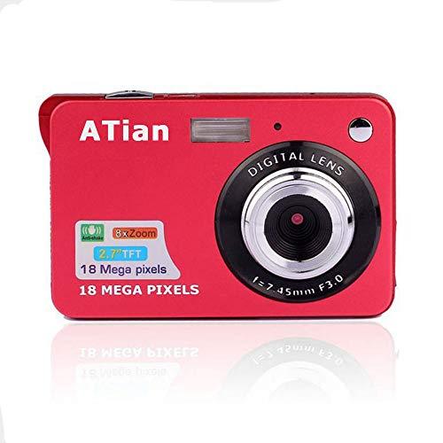 ATian 18 Mega Pixels 2.7″ 1280×720 HD LCD Rechargeable Digital Camera & Digital Video Camera for Students/Adult / Seniors/Kids (Red)