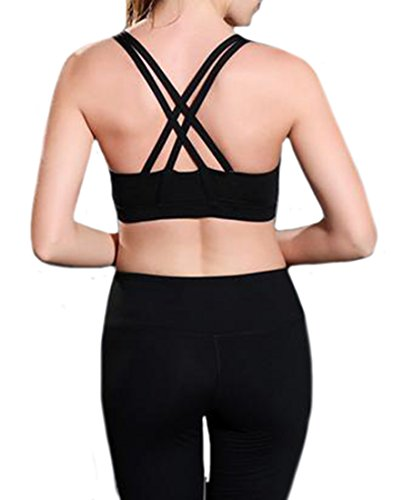 Fulok Womens Push-Up Racer Back High Impact Sport Workout Bra Black S