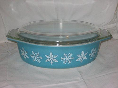Vintage 1957 Pyrex Teal & White Snowflake 2 1/2 Quart Oval Cinderella Baking Dish Casserole w/ Lid USA