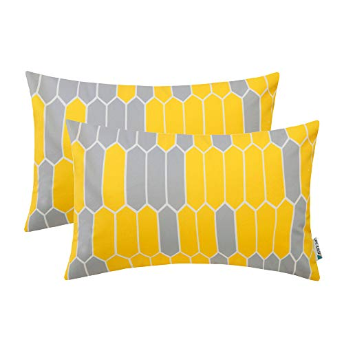 (HWY 50 Comfy Throw Pillows Covers Set Cushion Cases for Couch Sofa Bed Yellow Simple Decorative Geometric Rectangle Print 12 x 20 inch Pack of 2)