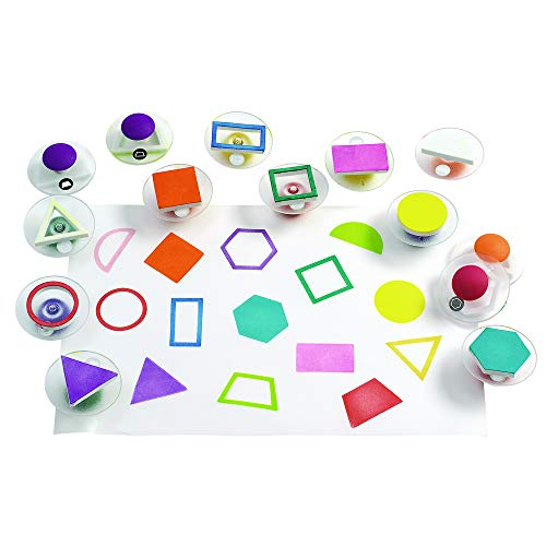 Foam Stamper - Colorations Easy-Grip Shapes Stampers for Kids Set of 14 Shapes Stamps Classroom Supply