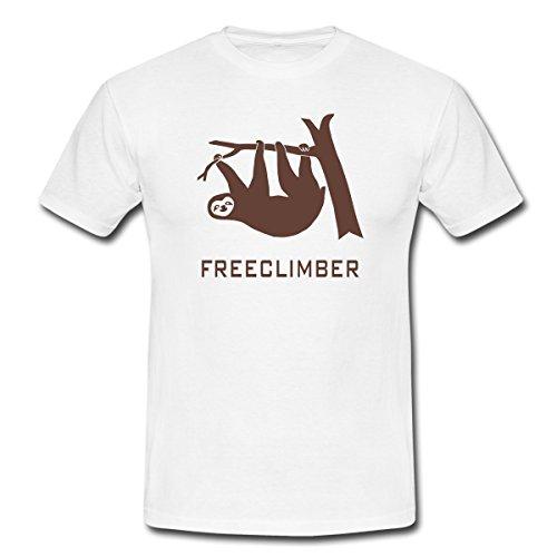 Faultier Freeclimber Männer T-Shirt von Spreadshirt®, M, Weiß