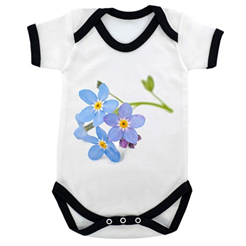 Forget Me Not Suit - Forget Me Not Image Baby Bodysuit White with Black Trim