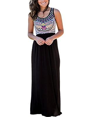 Dearlovers Women Sleeveless Vibrant Print Summer Beach Dress Casual Maxi Long Dresses