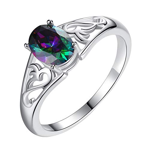 - bjlongyi Women's Vintage Ring,Rainbow Oval Cubic Zirconia Inlaid Hollow Finger Ring Party Prom Jewelry 9