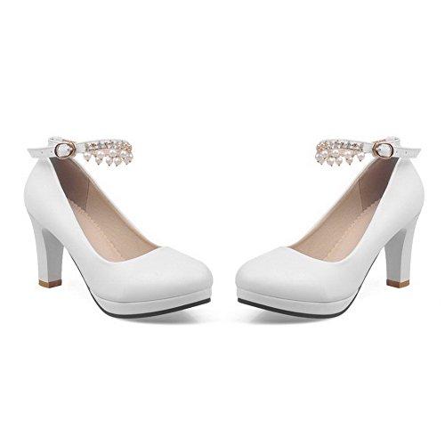Femme Haut À Boucle Unie Pu Légeres Talon Cuir Voguezone009 Couleur Blanc Rond Chaussures 64qnqHF