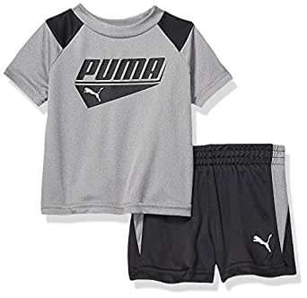PUMA Baby-Boys 01195765TME-P078 Boys' T-Shirt & Short Set Shorts Set - Gray - 0-3 Months