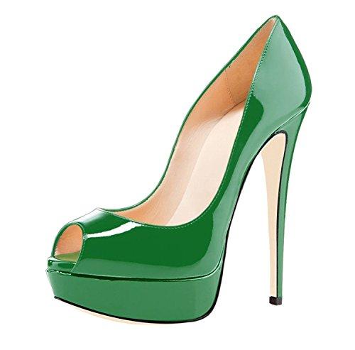 High Toe 14cm Sexy Peep Stilettos Patent Eldof Leather Womens Green High Heel Heels Party Pumps Platform 0qOYA