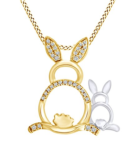 Round Shape 1/10 Cttw White Diamond Easter Bunny Pendant Necklace In Two Tone 14K Yellow Gold Over Sterling Silver