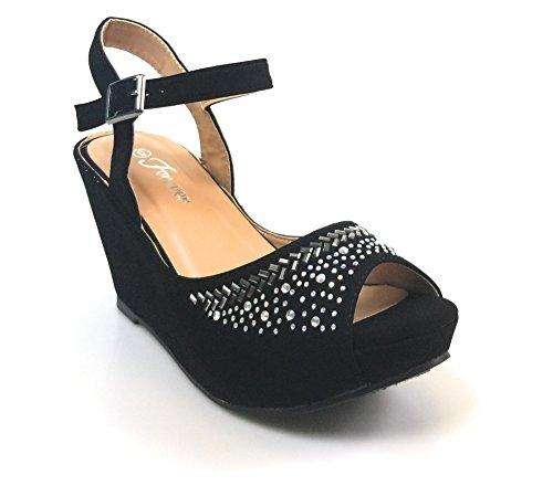 Womens Wedge Heel Peep Toe Wedding Party Dress Sandals Shoes (9, Black)