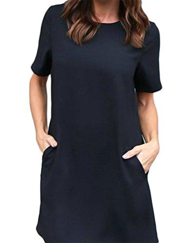 Fit Swing Plain Loose Short Women's Jaycargogo Black Dress Shirts Sleeves Soild w0x1fYqX