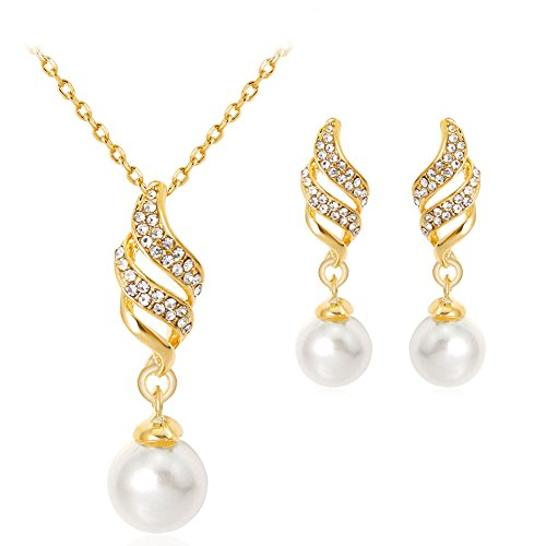 Avon Gold Plated (Hbinydepial Lady KC Gold Plated Spiral Rhinestone Faux Pearl Necklace Earrings Jewelry Set)