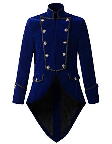 Mens Steampunk Tailcoat Jacket Velvet Gothic VTG Victorian (S, - Steampunk Blue