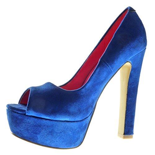 Angkorly - Zapatillas de Moda Tacón escarpín stiletto zapatillas de plataforma decollete mujer Talón Tacón ancho alto 13.5 CM - Azul