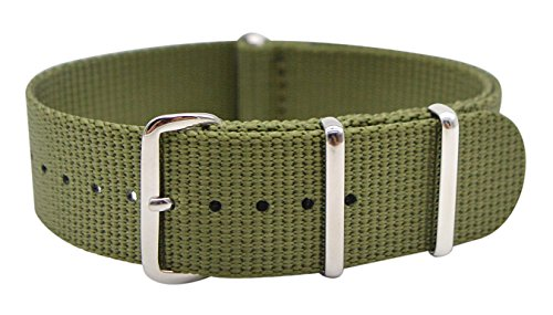 - ArtStyle Watch Band with Thick and Soft Nylon Material Strap Polished Stainless Steel Buckle - Choice of Color & Width (22mm, Army Green)
