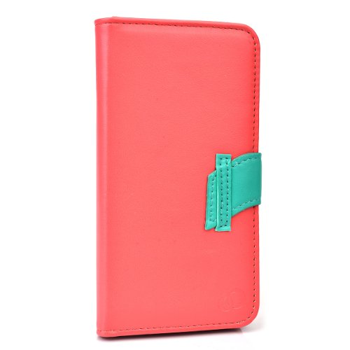 - Kroo Flip Cover Folio Wallet Case for Samsung Galaxy S5 with Flap - Non-Retail Packaging - Pink and Teal
