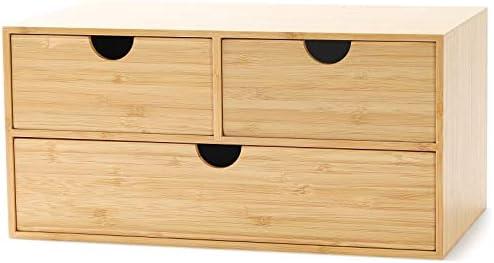 Bamboo Desk Organizer – Mini Bamboo Desk Drawer Tabletop Storage Organization Box for Office Home Toiletries Supplies (3 Drawer)