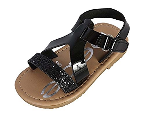 bebe Toddler Metallic Girls Sandals with Glitter Strap and Velcro, Black, ()
