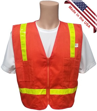 Orange Cotton Surveyors Vest with Lime Stripes - Made in USA - XL size by Texas America Safety Company