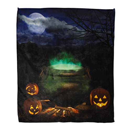 Emvency Throw Blanket Warm Cozy Print Flannel Halloween Night Bubbling Iron Cauldron Orange Pumpkin Jack O Lanterns and Full Comfortable Soft for Bed Sofa and Couch 60x80 Inches for $<!--$39.90-->
