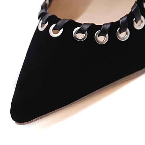 Señoras Mujer Nuevo Stiletto zapatos de tacón alto sandalias dedo del pie puntiagudo boca baja bombas de perforación de ante negro otoño primavera club nocturno fiesta de la boda elegante , Black , EU