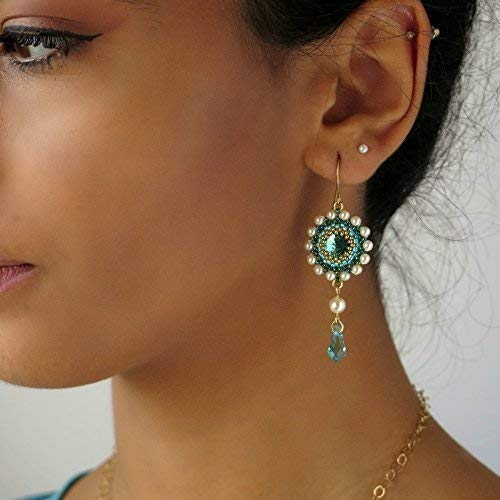Handmade Swarovski Turquoise Crystal Goldfilled Long Drop Earrings