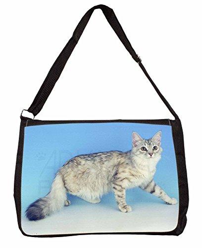 Siberian Silver Cat Large 16 Black School Laptop Shoulder Bag OJoyem
