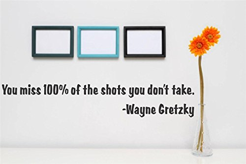 Design with Vinyl Gold 369-475 Decor Item Decal Vinyl Wall Sticker You Miss 100 Percent of The Shots You Don't Take. Wayne Gretzky Quote Home, 8-Inch x 20-Inch, Black (We Miss 100 Percent Of The Shots)