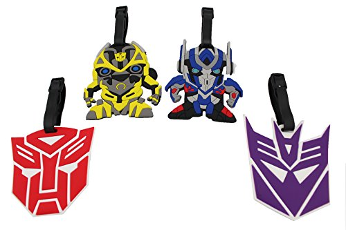 Optimus Cover Prime - Finex Set of 4 - Transformers Optimus Prime Bumblebee Travel Luggage ID Tag Bag with Adjustable Strap