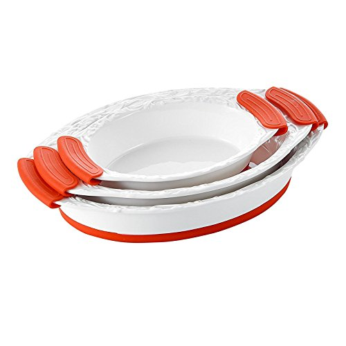 Malacasa Series Bake Porcelain Oval Bakeware Pans China Serving Tray Ceramic Baking Plates Set With Red Silicone Handle Dish, Ivory White, Set Of 3