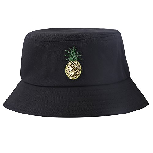 ZLYC Unisex Fashion Embroidered Bucket Hat Summer Fisherman Cap for Men Women Teens (Pineapple - Adult Hat Bucket