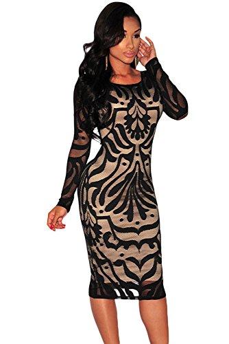 Señoras negro y Nude de encaje ilusión Bodycon vestido Club Wear fiesta oficina tamaño vestido UK 10–�?2EU 38–�?0