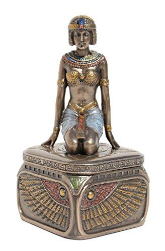 Trinket Box, Kneeling Egyptian Queen, Cold Cast