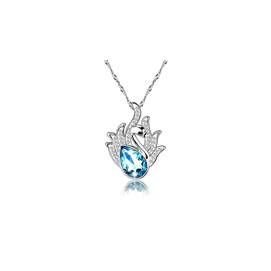 """Pealrich """"Swan Lake"""" Pendant Love Necklace Made with Swarovski Crystal Elements, Engraved Animal Jewelry"""