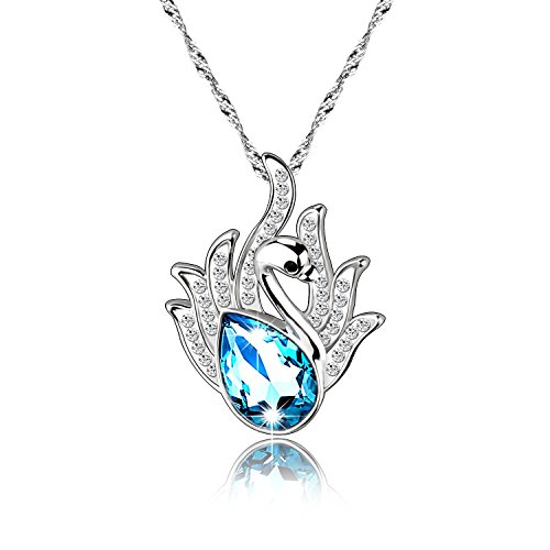 "Pealrich ""Swan Lake"" Pendant Love Necklace Made with Swarovski Crystal Elements, Engraved Animal Jewelry"