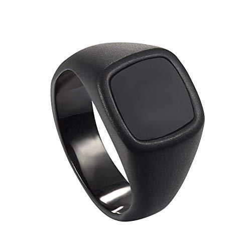 - Milo Bruno - Unisex Genuine Onyx Stainless Steel Signet Ring (Black) - 9