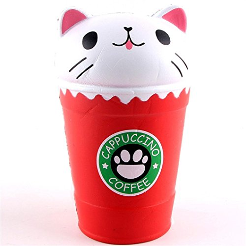 Malbaba 14cm Cut Cappuccino Coffee Cup Cat Scented Squishy Slow Rising Squeeze Toy Collection Cure Gift/Charm Decoration/Gift (Red)