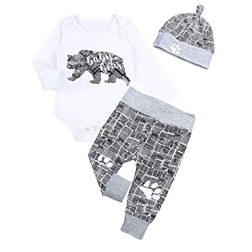 FEITONG Newborn Infant Baby Boy Clothes Bear Letter Long Sleeve Romper+ Long Pants+Hat 3PCS Outfits Set(White_1,6-12M)
