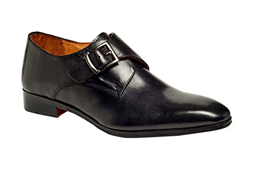 Calfskin Leather Loafers - Carlos by Carlos Santana Men's Freedom Monk-Strap Loafer, Black Full Grain Calfskin Leather, 9 D US