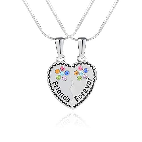 Lanqueen Best Friends Necklace for 2, BFF Teen Girls Gifts Silver Friendship Necklace for 2 Set, Crystal Heart Broken Charm Engraved Letters Necklace, Chain -