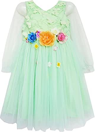 FZ96 Girls Dress Wedding Bridal Lace Tulle Overlay Flower Detailing Green Size 10 Years