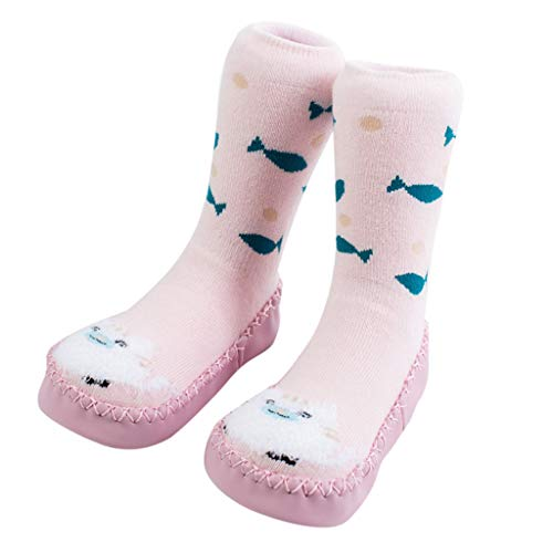 NUWFOR Newborn Baby Boy Girl Cartoon Xmas Floor Socks Anti-Slip Warm Baby Step Socks(Pink,2-3 Years by NUWFOR (Image #1)