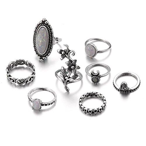 Balakie Fashion Rings Natural Gemstone Fire Opal Diamond Retro Jewelry Stacking Ring Band (8Pcs I, Free Size)
