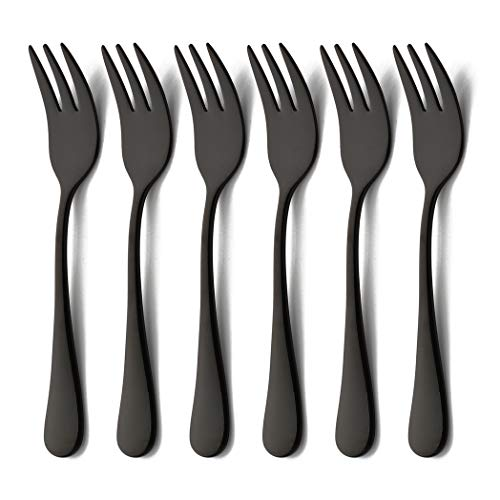 Black Cocktail Fork - Black Oyster Cocktail Forks Set 6 Piece Stainless Steel Cake Appetizer Dessert Salad Fork Tasting Silverware Mirror Finish Dishwasher Safe Perfect for Wedding Party Event 5.5 Inch