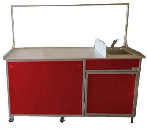 Monsam FCS-001 Food Service Cart with Portable Self Contained Sink, Red by Monsam Enterprises