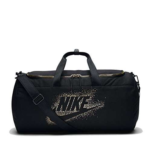 Nike Unisex Metallic Carryall Duffel Bag-Black/Metallic Gold (Stand Nike Bags)