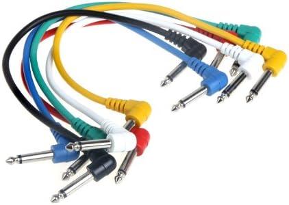 ammoon Lot de 6pcs Colorful Guitare câbles Patch coudé pour pédale à effets pour guitare
