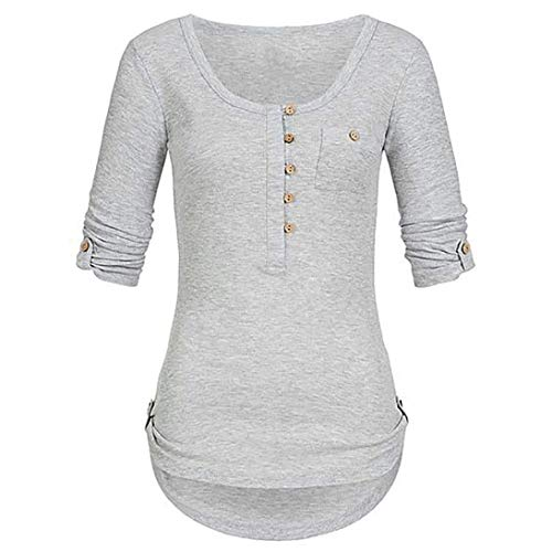 - Button-Down Shirts,Toimoth Women Ladies Solid Long Sleeve Button Blouse Pullover Tops Shirt Pockets(Gray,L)