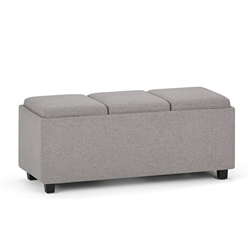 Simpli Home 3AXCAVA-OTTBNCH-02-CLG Avalon 42 inch Wide Contemporary Rectangle Storage Ottoman in Cloud Grey Linen Look Fabric